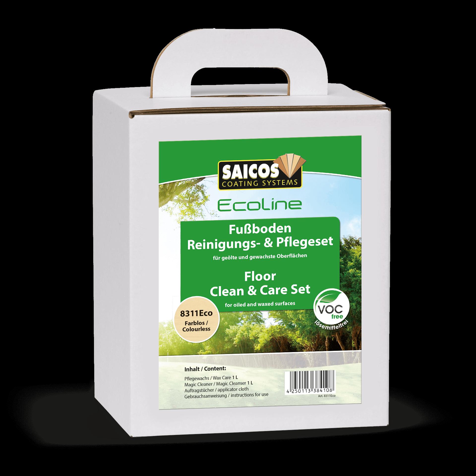 Saicos Ecoline Fußboden Reinigungs- & Pflegeset Floor Clean & Care Set englisch